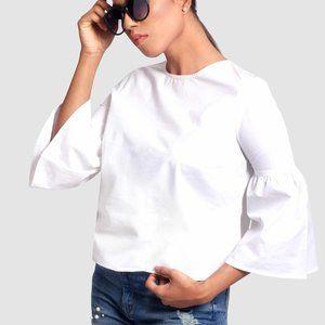 OLGYN Women's Three Quarter Flare Sleeve White Top